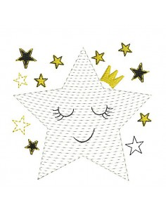 Instant download machine embroidery crowned star