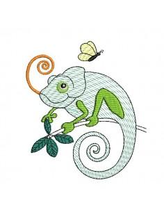 embroidery design  chameleon mylar