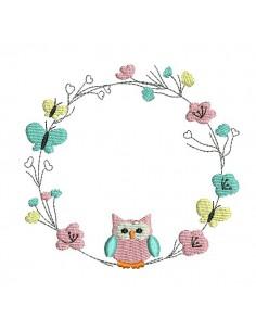 Embroidery design  spring frame owl
