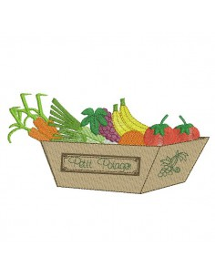 Instant download machine embroidery fruit and vegetable basket