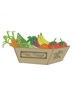Motif de broderie machine panier de fruits et légumes