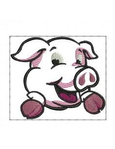 Motif de broderie  machine cochon appliqué