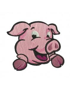 Motif de broderie  machine cochon