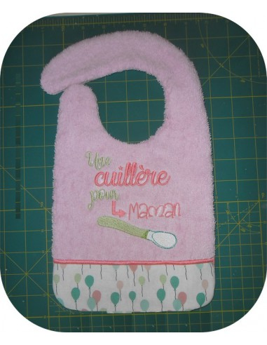 machine embroidery design  Bib ITH a spoon for dad