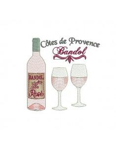 Motif de broderie machine  vin rosé de Provence