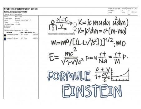 Embroidery design  formula einstein