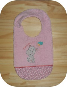 machine embroidery design  Bib ITH baby girl hippo