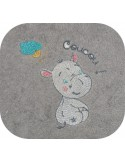 embroidery design baby girl hippo