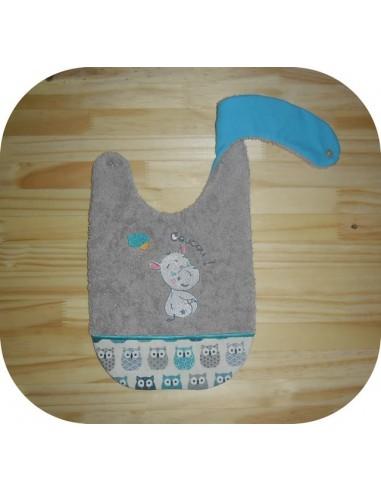 machine embroidery design  Bib ITH baby girl hippo