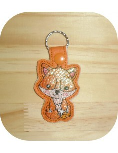 machine embroidery design fox mylar keychains ith