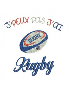Motif de broderie machine texte j'peux pas j'ai  rugby