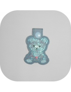 machine embroidery design bear mylar keychains ith