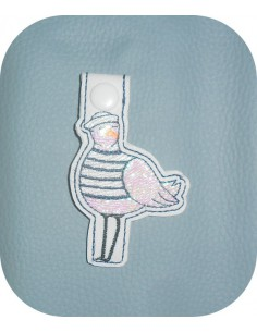 machine embroidery design seagull  mylar keychains ith