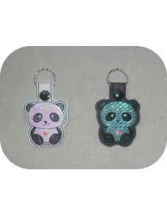 machine embroidery design panda mylar keychains ith
