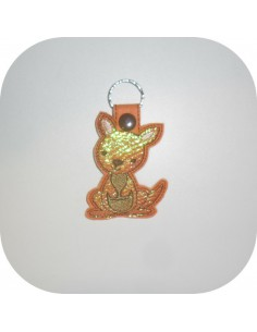 machine embroidery design  kangaroo  mylar keychains ith