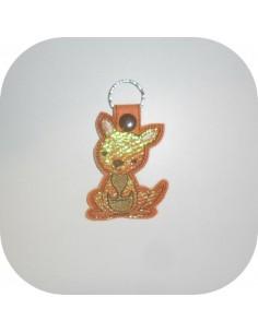machine embroidery design Australian kangaroo  mylar keychains ith