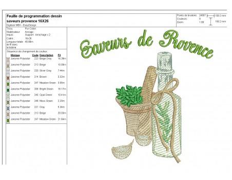 Motif de broderie machine  saveurs de Provence
