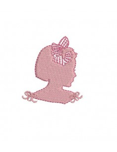 instant download machine embroidery design cameo little girl