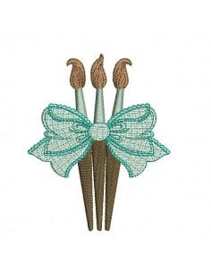 Motif de broderie machine pinceaux  avec un noeud