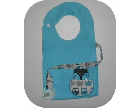 machine embroidery design  bib tie pacifier Sloth