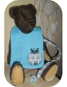 machine embroidery design  bib tie pacifier bear