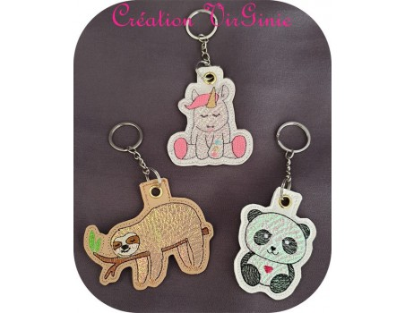 machine embroidery design squirrel  mylar keychains ith
