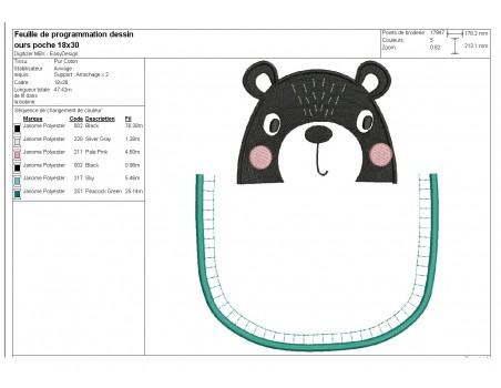 machine embroidery design bear