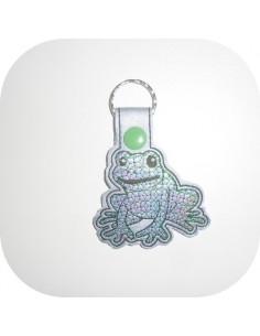 Motif de broderie machine porte clé grenouille en mylar  ITH