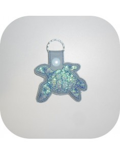 embroidery design  sea ​​turtle  mylar keychains ith
