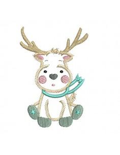 embroidery design machine little deer applique