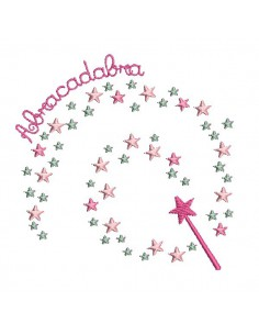 Instant download machine embroidery  magic wand stars