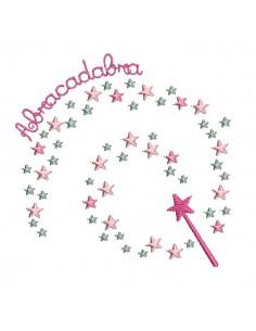 Motif de broderie machine baguette magique étoiles abracadabra