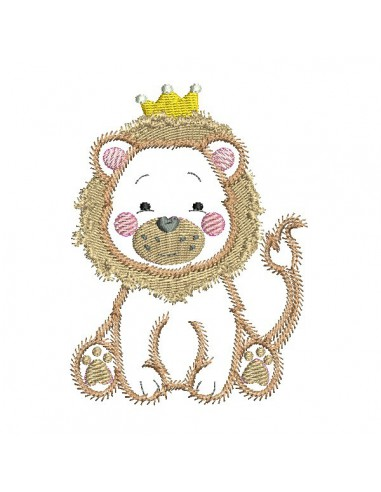 embroidery design machine little lion applique