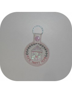 machine embroidery design  home sweet home mylar keychains ith