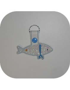 machine embroidery design  pilchard mylar keychains ith