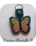 Motif de broderie machine porte clé papillon en mylar  ITH