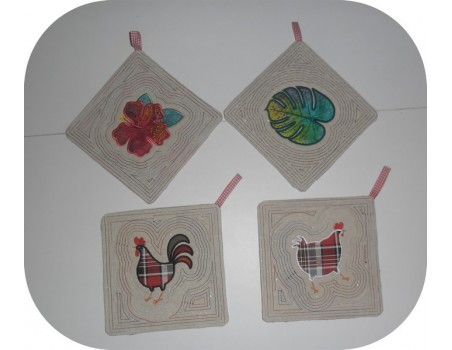 Instant download machine embroidery potholder oven rooster ith