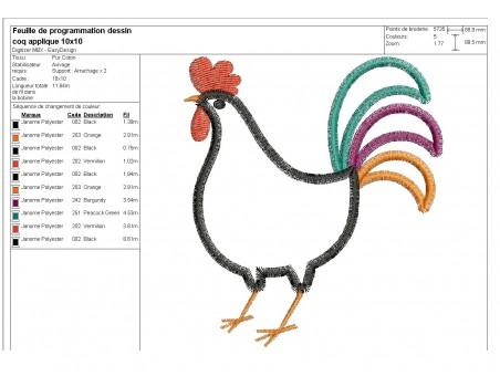Instant download machine embroidery Hen applique