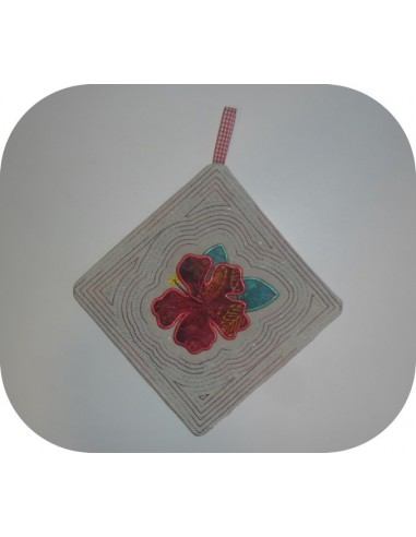 Instant download machine embroidery potholder oven  or trivet hibiscus flower ith