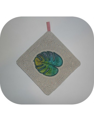 Instant download machine embroidery potholder oven  or trivet monstera leaf ith