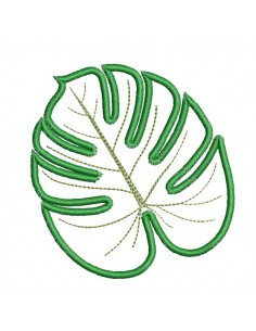 Motif de broderie machine feuille de monstera  en appliqué