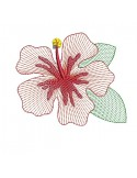 Motif de broderie machine fleur d'hibiscus  en mylar