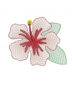 machine embroidery design hibiscus flower mylar