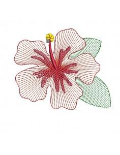 machine embroidery design hibiscus flower mylar keychains ith