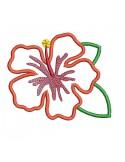 Motif de broderie machine fleur d'hibiscus  en appliqué