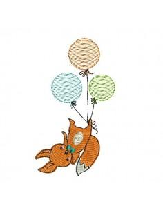 Motif de broderie machine renard avec ses balons en mylar