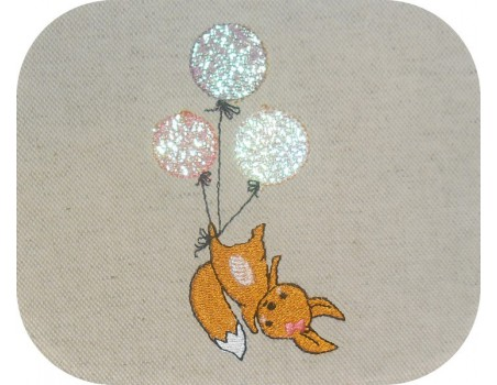 embroidery design machine little fox with balloons