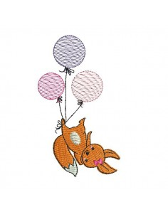 Motif de broderie machine renarde avec ses balons en mylar