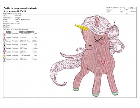 Instant download machine embroidery design  Unicorn heart