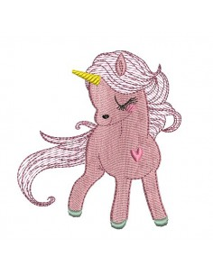 Instant download machine embroidery design  Unicorn heart with mylar